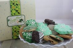 Ingallina's Box Lunch Seattle offers St Patrick's Cookie Box with Mint Chocolate Chip and Frosted Shamrock Shortbread cookies; the perfect gift to send to out-of-area  friends, family and business associates.