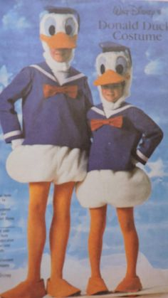 Adult's DONALD DUCK COSTUME: Includes patterns & instructions to make duck head, shirt and hat, pantaloons/panties, duck feet/shoes, bow & gloves. Simplicity 7731 will fit adults size Large - This pattern uncut. Walt Disney Characters, Disney Pixar, Halloween Costume Patterns, Halloween Costumes, Simplicity Patterns, Cool Patterns, Donald Duck Costume, Swimsuit Pattern, Fashion Patterns