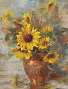 Sunflowers by Laura Robb Oil ~ 18 x 14