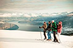 Skiing with a fjord view! View of the Nordfjord from Breimsbygda Ski Centre in Gloppen. Norway, Skiing, Backdrops, Most Beautiful, Scenery, Adventure, Mountains, Winter, Travel