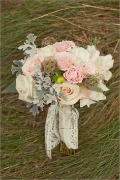 pastel pink and white bouquet by Huckleberry Karen Designs
