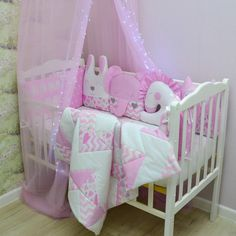 Pink сrib bumpers with blanket and canopy - Baby bed bumper - Cot bumper set - crib bumpers with animals Cot Bumper Sets, Baby Canopy, Bed Bumpers, Animal Pillows, Baby Items, Cribs, Toddler Bed, Baby Shower, Blanket