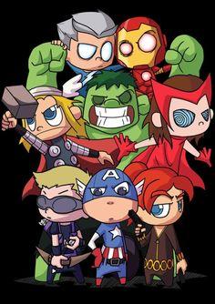 Avengers Cartoon, Marvel Cartoons, Marvel Comics Superheroes, Marvel Art, Marvel Characters, Marvel Avengers, Baby Marvel, Chibi Marvel, Baby Avengers