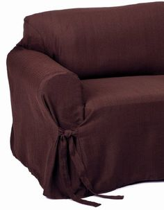"2-Piece Jacquard Stripe Fabric Solid Chocolate Brown Couch/sofa + Loveseat Cover Slipcover set. Fits Seat depth 30"" From front to Back. Imported. We also carry these in 9 colors. This set achieves the same effect without the expense or fuss. This slipcovers are brand new. 2 pc set including (Sofa Cover, Loveseat Cover). These covers are to fit sofas that are 76"" to 98"" in length and Love seats that are 60"" to 75"" in length. Simply pull the slipcover on and adjust the tie at each... Loveseat Sofa, Sectional Sofa, Sofas, Loveseat Covers, Chair Covers, Chocolate Brown Couch, Striped Couch, Kitchen Sofa, Parsons Chairs"