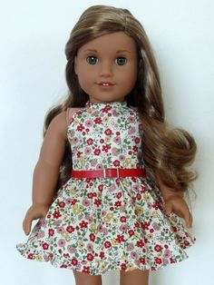 Halter Floral Dress for American Girl Dolls by BuzzinBea on Etsy