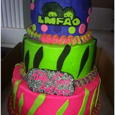 "LMFAO Party Rock Anthem cake. This is Leila's ""theme"" for her birthday party this year. Dress funky! :)"