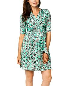 Look what I found on #zulily! Mint Snake Tie-Front Maternity Surplice Dress - Women by Maternal America #zulilyfinds