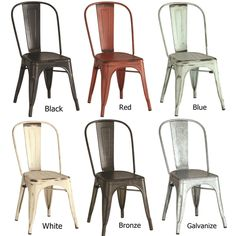 Vintage Distressed Rustic Metal Dining Chairs Set Of 4