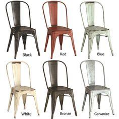 Vintage Distressed Rustic Metal Dining Chairs (Set of 4)