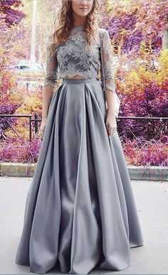 long prom dresses,two piece prom dresses,lace prom dresses,prom dresses for teens,cheap prom dresses Grey Prom Dress, Prom Dresses Two Piece, Prom Dresses For Teens, Prom Dresses 2017, Half Sleeve Dresses, Prom Dresses With Sleeves, A Line Prom Dresses, Lace Evening Dresses, Cheap Prom Dresses