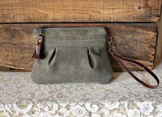 Stone canvas clutch wristlet pouch tassel trim real leather details upcycled ecofashion - Ready to Ship--