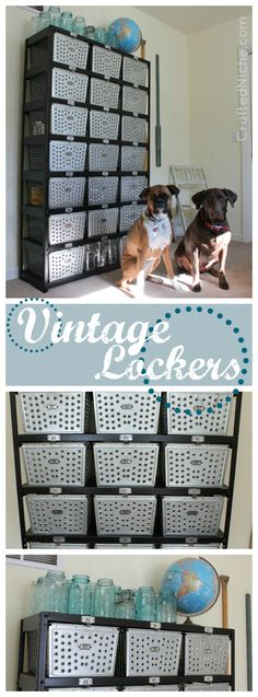 Vintage Lockers Makeover - Before & After Photos.  Perfect for a mudroom or craft room! Would be fun in a boys room, teen bedroom or game room!  From CraftedNiche.com