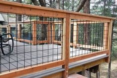 Wild Hog brand metal deck railing installed on a deck in Kachina Village near Flagstaff Arizona. The railing consists of black painted welded wire on a 4 inch by 4 inch grid. Check out hog brand Metal Deck Railing, Deck Railing Design, Deck Design, Deck Railing Ideas Diy, Porch Ideas, Railings For Decks, Porch Railings, Deck Guardrail Ideas, Horizontal Deck Railing