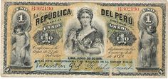"Perú 1879, 1 sol (anverso) Billete fiscal. Ley del 27 de enero de 1879 (""República del Perú"").    by Santiago Stucchi Portocarrero, via Flickr"