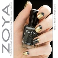 No time for a manicure? Half-moon it! Such an easy and quick way to freshen up your existing mani - Shown: Zoya Nail Polish in Ziv and Zoya Storm from the Ornate Collection.