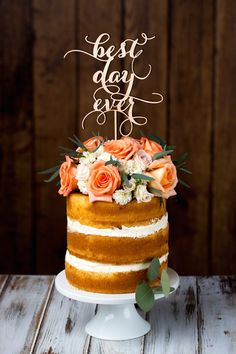 10 Cake Toppers We Love/This gorgeous birch topper by BetterOffWedRustics, will certainly let your guests know how you feel.