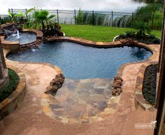 Pool with hot tub, large steps
