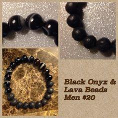 Natural onyx beads & Lava beads mans bracelet.