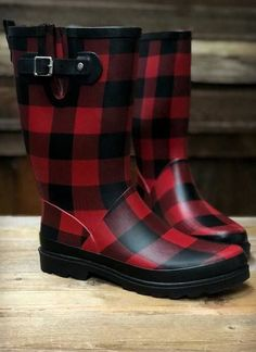 Tall Red Buffalo Plaid Rain Boots – The Vintage Leopard Rain Boots, Shoe Boots, Plaid Shirt Outfits, Buffalo Plaid Shirt, Plaid Fashion, Emo Fashion, Curvy Fashion, Boating Outfit, Tomboys