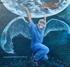 "Melbourne Murals , ""Frontline Heroes"" in Melbourne, Victoria, Australia, 2020 Medical Wallpaper, Nurse Art, Poster Drawing, Medical Art, Art Drawings Sketches, Street Artists, Images Gif, Graffiti Art, Banksy"