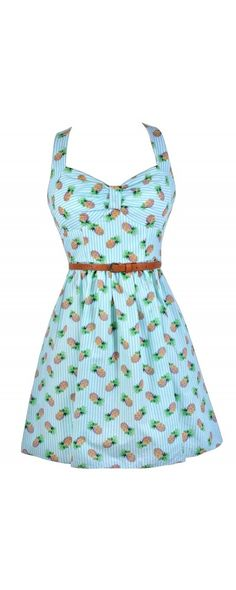 Pineapple Delight Printed Belted Dress  www.lilyboutique.com