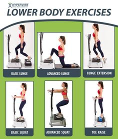 Lower body exercises that you can do on the Hypervibe machine. www.facebook.com/hypervibeca #exercise #vibrationmachine #workout