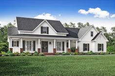This Country style home plan with Farmhouse influences (House Plan #142-1166) has over 2400 sq. ft. of living space. The 1 story floor plan includes 3 bedrooms.