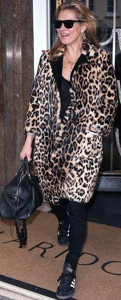 Who What Wear Kate Moss Leopard Coat Fall Celebrity Street Style Inspo