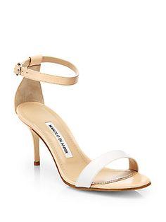 Manolo Blahnik Chaos Bicolor Leather Ankle-Strap Sandals