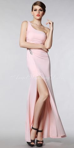 One Shoulder Floor Length Sheath  Column Chiffon With Crystal Prom Dresses 542e8014c230
