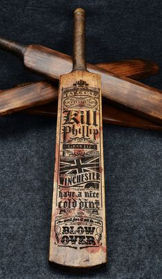 wall decor for my Seance Room----Shaun of the Dead laser etched cricket bat by NrMandaradesigns - brilliant! Cricket Bat, Cricket Sport, Laser Cutter Projects, Cnc Projects, Laser Art, 3d Prints, Pyrography, Laser Engraving, Laser Cutting