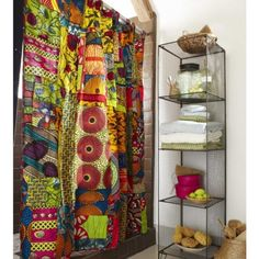 African Print Shower Curtain.  This would brighten my day every morning.
