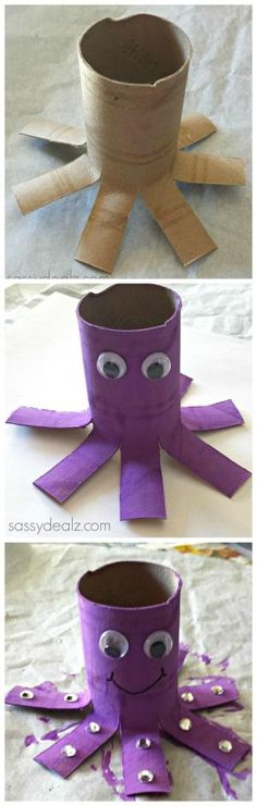 DIY Toilet Paper Rolls Crafts For Your Kids To Enjoy We love toilet paper rolls! Darling octopus paper roll craft for kids.We love toilet paper rolls! Darling octopus paper roll craft for kids. Kids Crafts, Daycare Crafts, Summer Crafts, Toddler Crafts, Projects For Kids, Diy For Kids, Easy Crafts, Easy Diy, Art Projects
