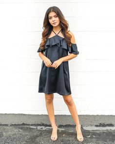 Arial Ruffle Dress - Black - ITEM OF THE DAY