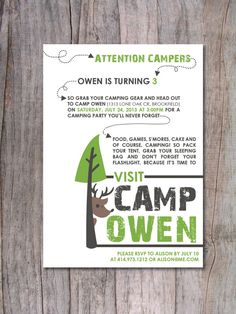 Modern Camping Birthday Party Invitation by PinchOfSpice on Etsy