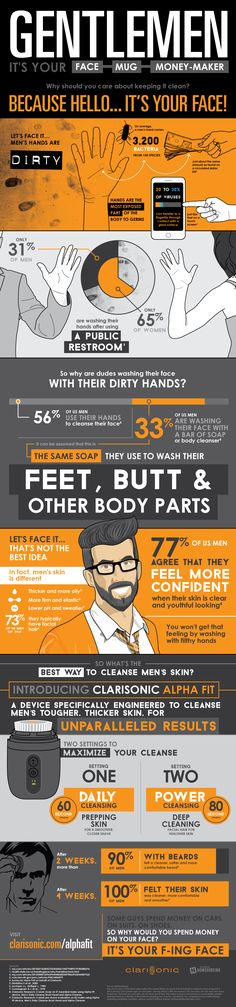 Gentlemen It's your Face - Mug - Money-maker Why Should you care about Keeping it Clean? #infographic #Fashion #Health
