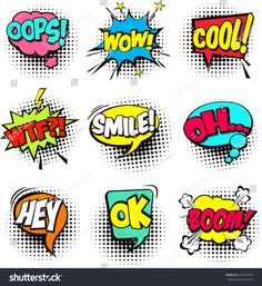 Collection of Cartoon, Comic Speech Bubbles. Colored Dialog Clouds with Halftone Dot Background in Pop Art Style. Vector Illustration for Comics Book. Speech Bubbles with Word and Sound Illustration , Ongles Pop Art, Pop Art Nails, Party Cartoon, Cartoon Games, Cartoon Speech Bubble, Comic Bubble, Deco Cinema, Illustration Pop Art, Comics Und Cartoons