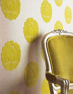 textured  Wallpaper- could use stamps and flocking for a dyi version