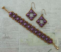 Linda's Crafty Inspirations: Silky Squares Earrings & Vivian's Bracelet Set - Purple Velvet