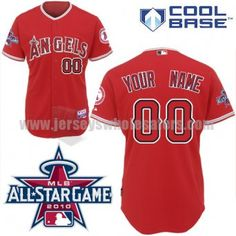 6523551bac3 Angels of Anaheim Personalized Authentic Red w 2010 All-Star Patch Baseball  Jersey (