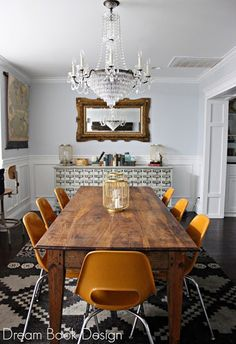 Discover Your Home Decor Personality: Inspirations for the Eclectic Collector - Home Professional Decoration Dining Room Design, Dining Room Table, Dining Area, Kitchen Dining, Dining Rooms, Wood Table, Rustic Table, Orange Dining Room, Rustic Wood