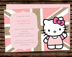 Hello Kitty Birthday Invitation Digital, Hello Kitty London Invitation, Hello Kitty UK Invitation by graphicsmarket on Etsy