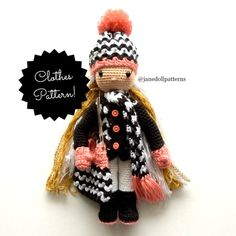 Crochet Doll Chevron Beanie Pattern Crochet by JaneDollPatterns