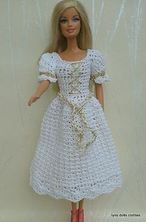 Crochet Toy Barbie Clothes Ravelry: Barbie crochet princess dresses pattern by linda Mary - This is a simple pattern using basic crochet stitches. Crochet Barbie Patterns, Crochet Doll Dress, Barbie Clothes Patterns, Crochet Barbie Clothes, Clothing Patterns, Crochet Dresses, Doll Patterns, Crochet Pattern, White Princess Dress