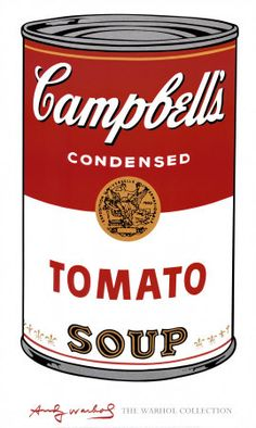 Campbell soup by Andy Warhol 1968 Created to show how icons such as these become art Pop art The theme is pop culture. James Ensor, James Rosenquist, Andy Warhol Pop Art, Andy Warhol Soup Cans, Robert Rauschenberg, Roy Lichtenstein, Cultura Pop, Sopa Campbell, Campbell Soup Art
