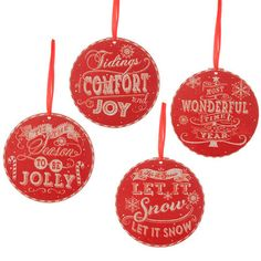 "RAZ Christmas Message Disk Ornament Set of 4  4 Assorted disk shaped message ornaments Set includes one of each style Red, White Made of MDF Measures 6"" Artist: Geoff Allen   RAZ Exclusive"