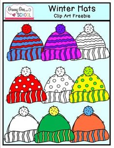 Colorful Winter Hats: Free Clip Art
