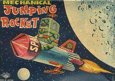 Mechanical Jumping Rocket Boxtop