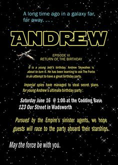 Pinning this for sis!  Mat would loooove this.  star wars birthday invitation
