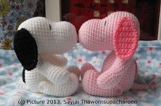Pink Snoopy ~ Amigurumi crochet patterns ~ K and J Dolls / K and J Publishing ****no pattern for Snoopy but so cute! Snoopy Amigurumi, Crochet Amigurumi, Knit Or Crochet, Amigurumi Patterns, Crochet Crafts, Crochet Dolls, Yarn Crafts, Crochet Stitches, Crochet Baby